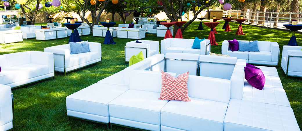 White Leather Furniture for a private event in an orchard