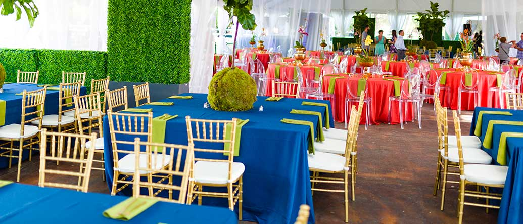 Blue and Red Linens set over Tables with Chiavari Chairs for rent in Salt Lake City Utah