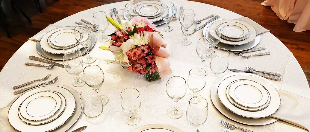 Table Setting with Glassware and China for rent in Salt Lake City Utah