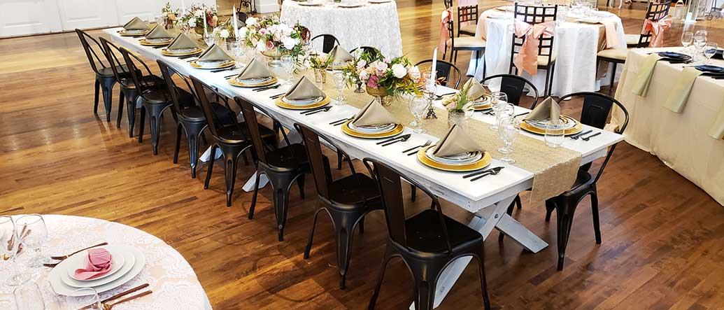White Table with Elio Chairs for rent in Salt Lake City Utah