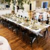 Whitewash Wood Banquet Tables with Metal Elio Chairs in Salt Lake City Utah