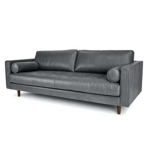 Oxford Gray Leather Sofa for rent in Salt Lake City Utah