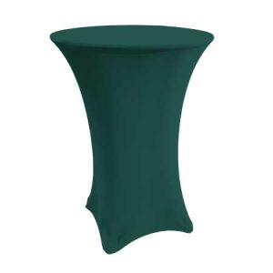 Spandex Hunter Green Cabaret Linen for rent in Salt Lake City Utah