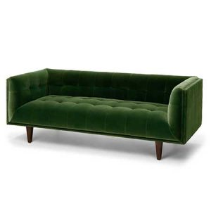 Tufted Grass Green Sofa for rent in Salt Lake City Utah